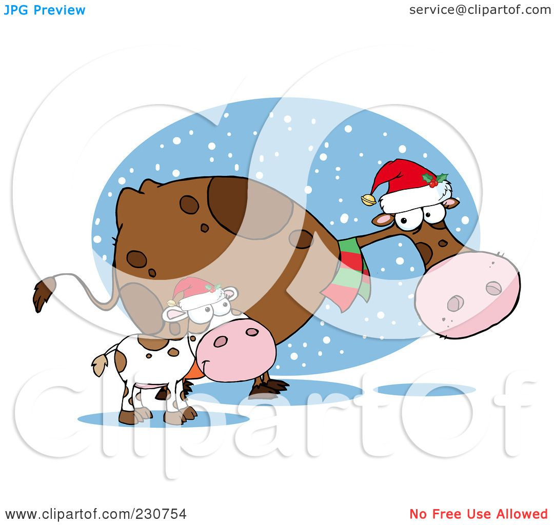 Royalty-Free (RF) Clipart Illustration of Christmas Cows - 2 by ...