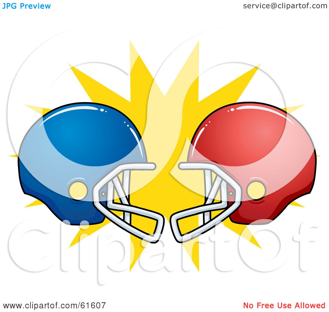Royalty Free Rf Clipart Illustration Of Clashing Red And Blue American Football Helmets By R Formidable 61607