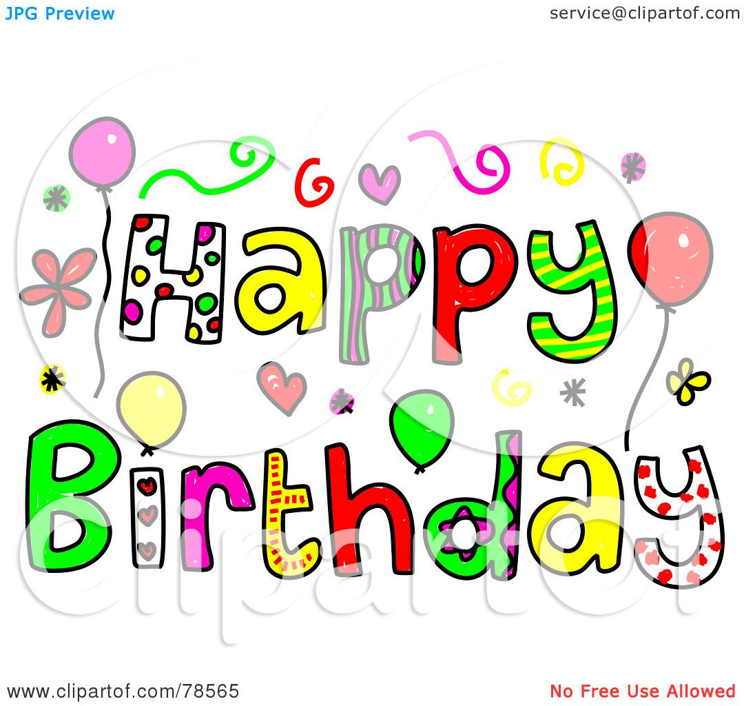 Royalty-Free (RF) Clipart Illustration of Colorful Happy Birthday ...