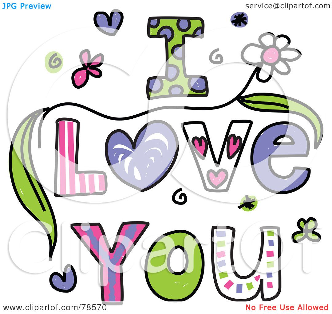 Royalty free rf clipart illustration of colorful i love for Clipart words