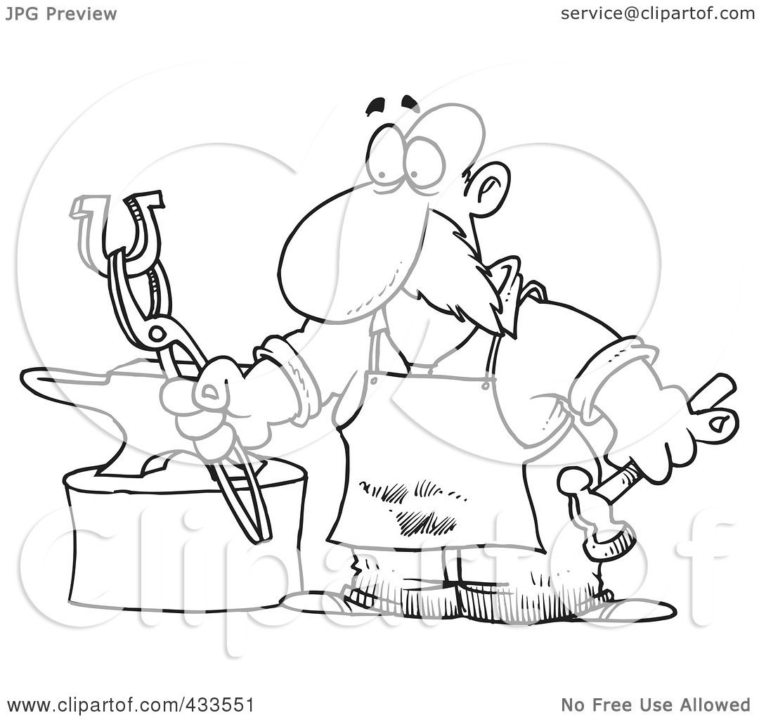 Royalty Free RF Clipart Illustration Of Coloring Page Line Art A Blacksmith Working On Horseshoe By Toonaday