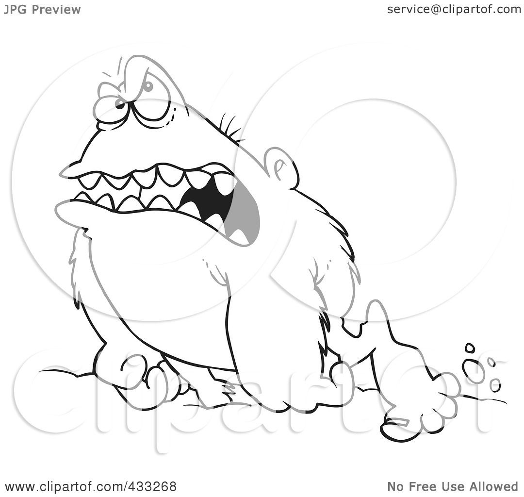 royalty free rf clipart illustration of coloring page line art of a grouchy abominable snowman by ron leishman
