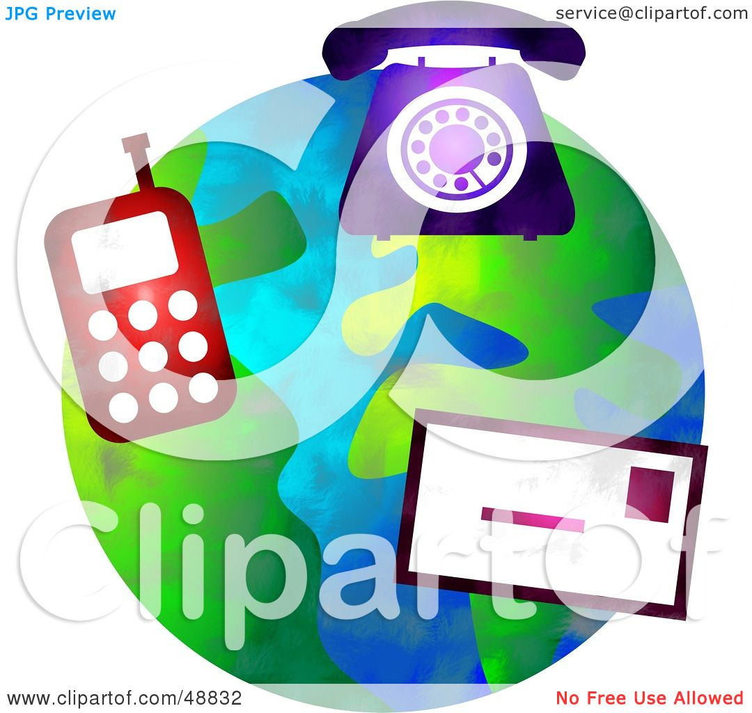 Communication Icons Over A Globe 48832 on Americana Graphic Design