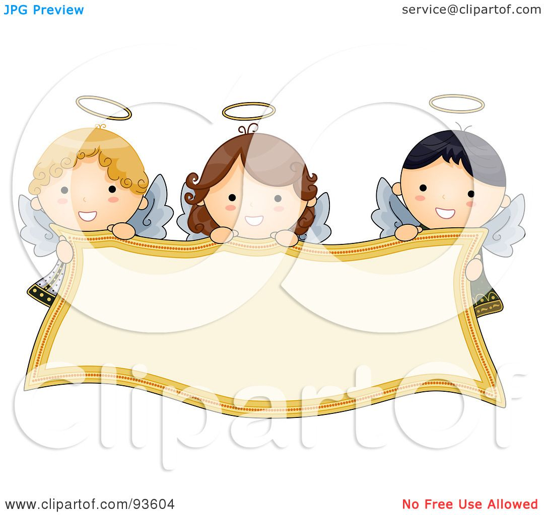 Free rf poodle clipart illustration 215241 by bnp design studio - Royalty Free Rf Clipart Illustration Of Cute Angel Girls Holding A Blank Banner