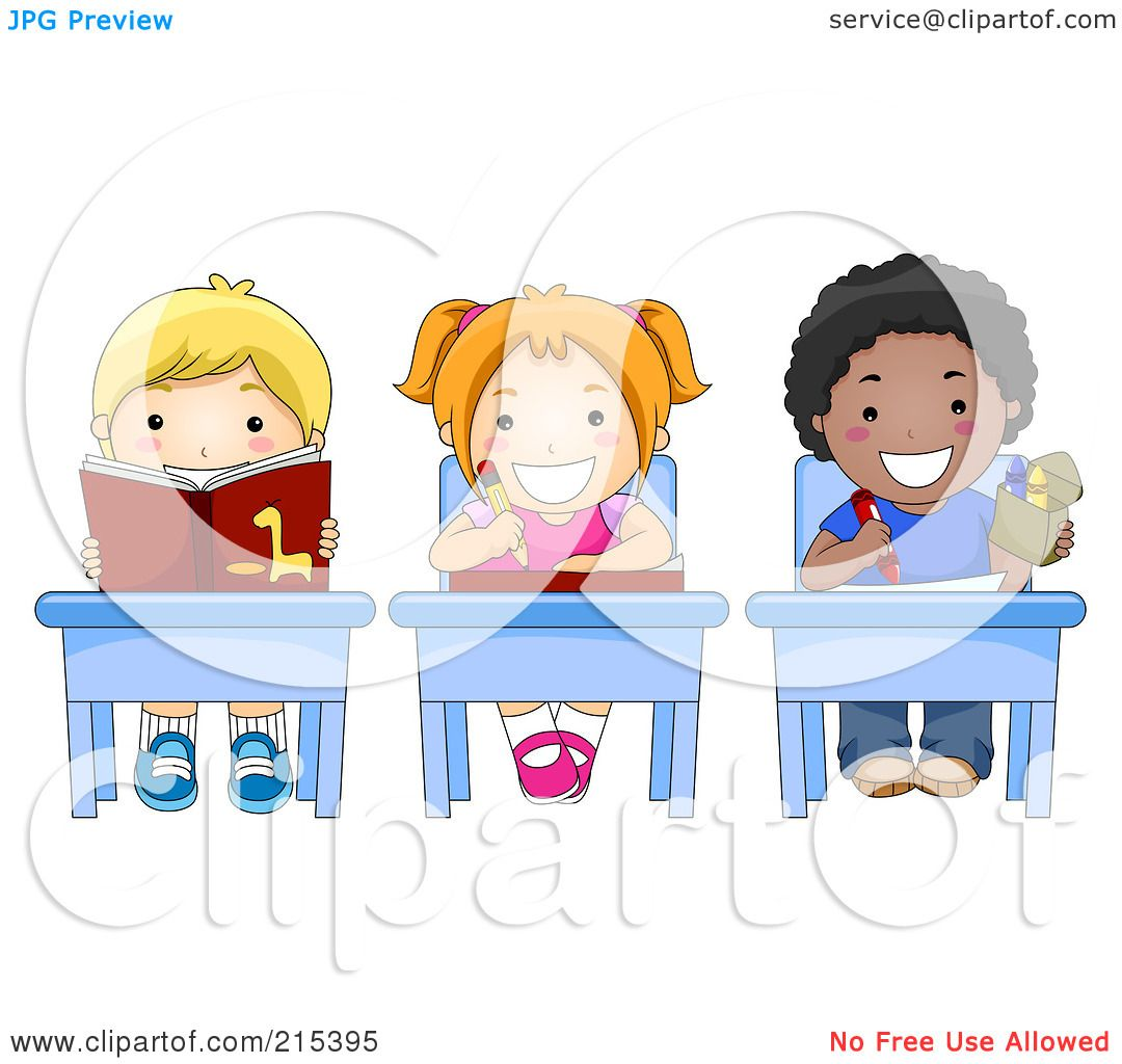 Royalty-Free (RF) Clipart Illustration of Diverse School ... Child Reading At Desk Clipart
