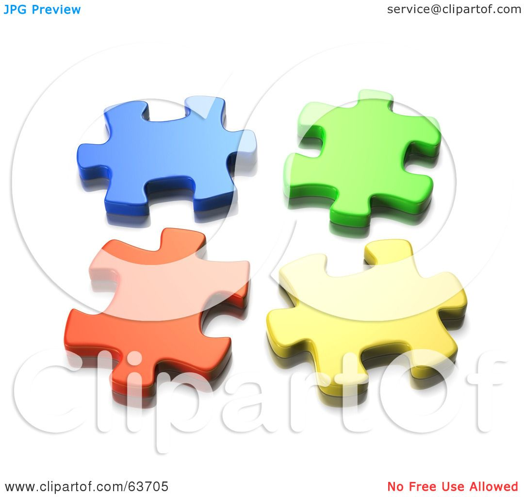 Royalty Free RF Clipart Illustration Of Four Seperated 3d Blue Green Orange And Yellow Jigsaw Puzzle Pieces By Tonis Pan
