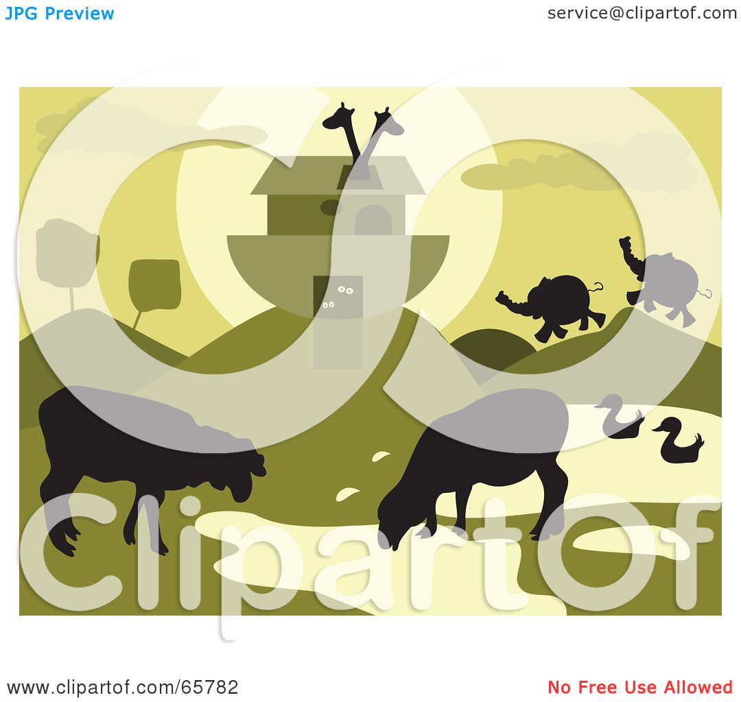 Royalty-Free (RF) Clipart Illustration Of Grazing Animals