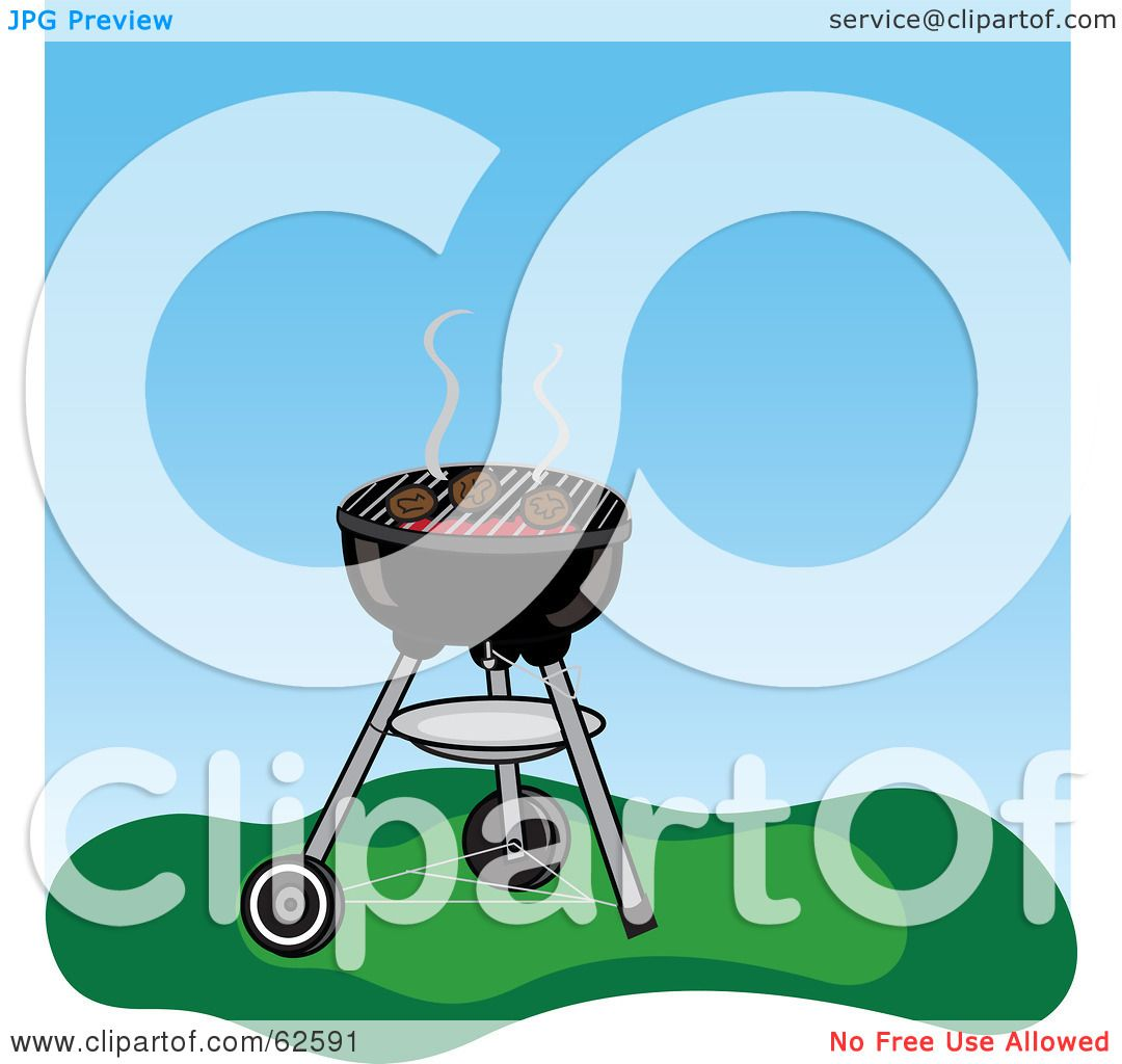 Royalty-Free (RF) Clipart Illustration of Hamburgers Cooking On A ...