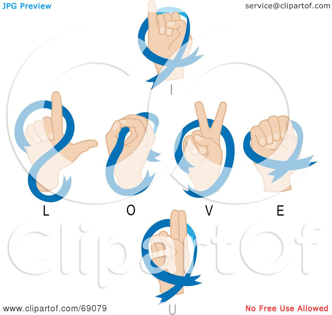 ... ) Clipart Illustration of Hands Signaling I Love You In Sign Language