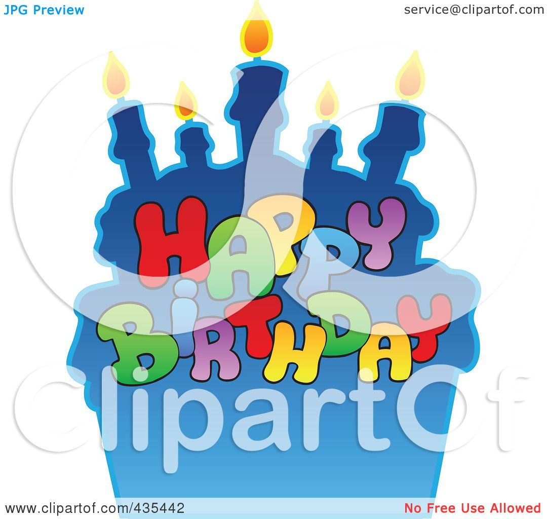 Royalty-Free (RF) Clipart Illustration Of Happy Birthday Text Against A Blue Cake By Visekart