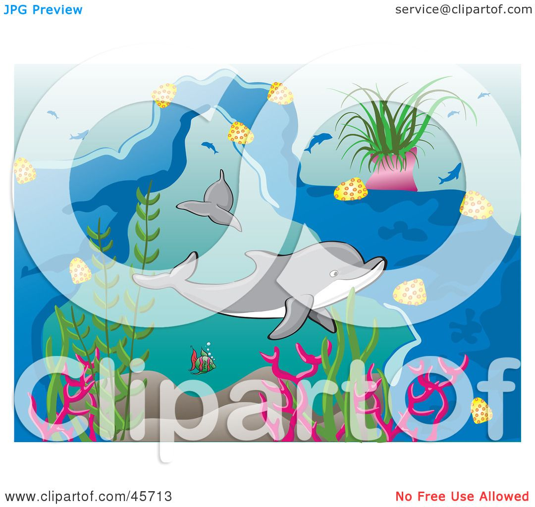 b8667cbe22e Royalty-free (RF) Clipart Illustration of Happy Dolphins Swimming  Underwater by pauloribau