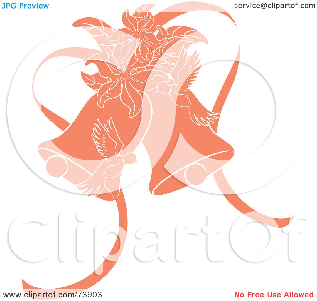 Royalty Free RF Clipart Illustration Of Orange Doves Lilies And Wedding Bells By Pams