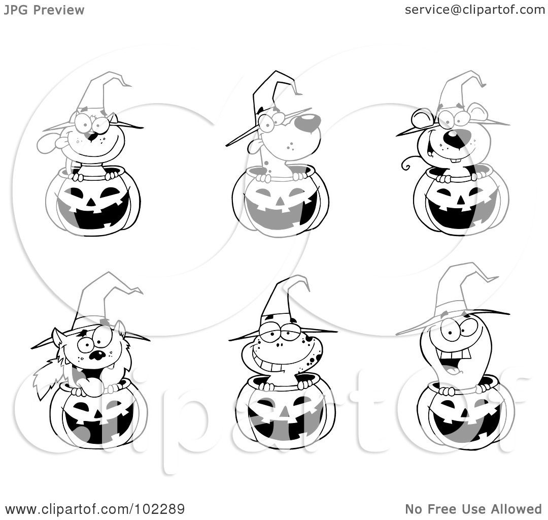 royalty-free (rf) clipart illustration of outlines of animals in