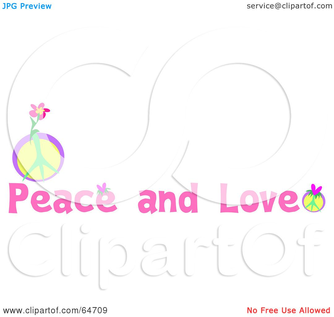 Royalty Free Rf Clipart Illustration Of Pink Peace And Love Text