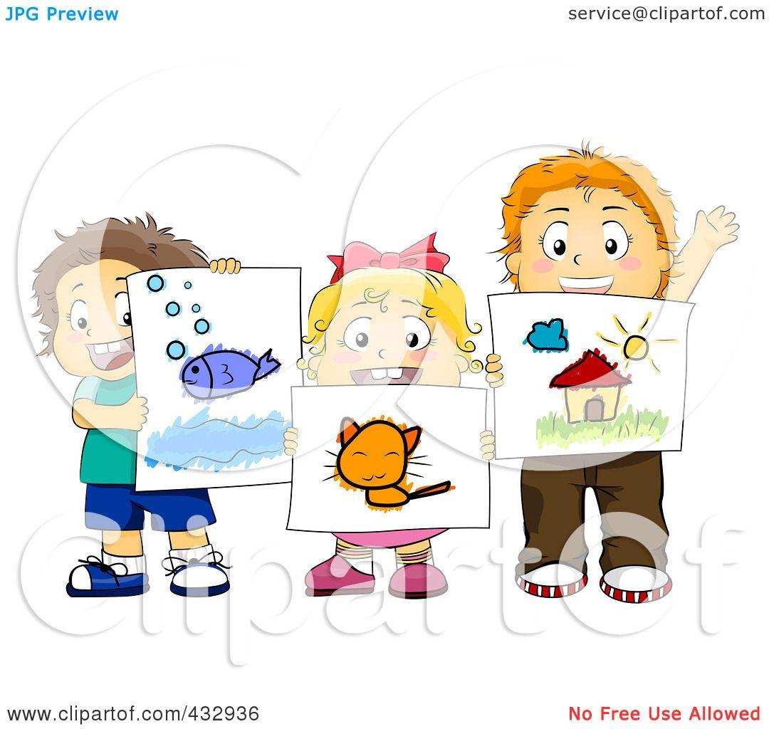 Art Girls Virtual Preschool: Royalty-Free (RF) Clipart Illustration Of Preschool Kids
