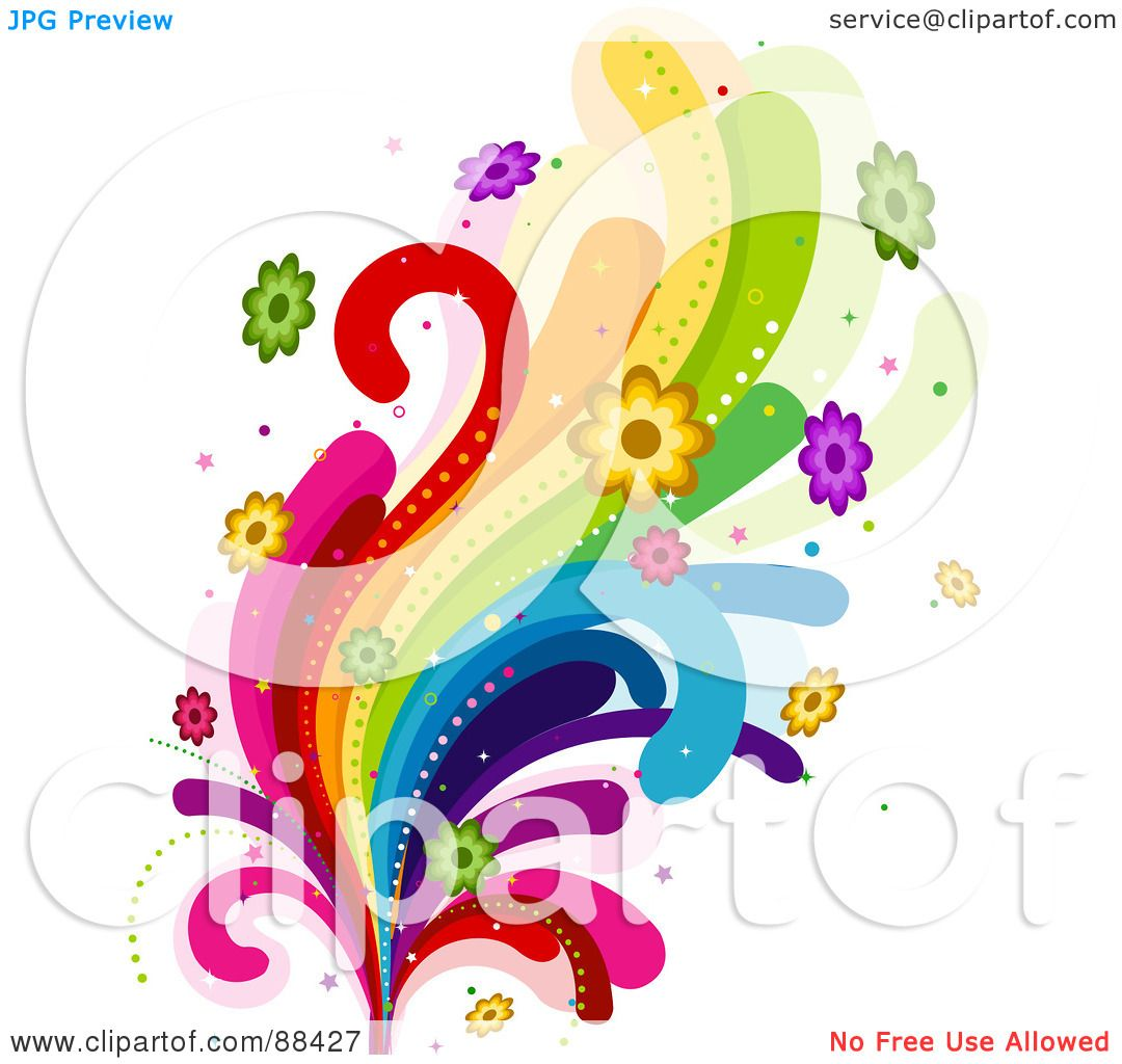 Royalty-Free (RF) Clipart Illustration of Rainbow Swooshes ... Colorful Flowers Clipart
