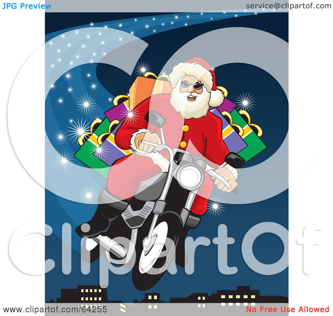 Royalty-Free (RF) Clipart Illustration of Santa Flying His ...