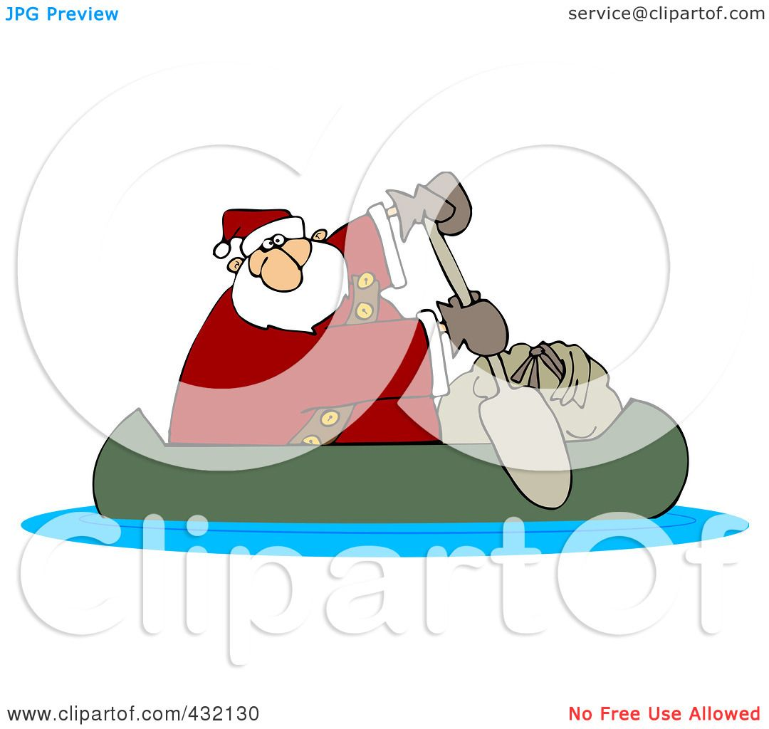 Royalty-Free (RF) Clipart Illustration of Santa In A Canoe With ...