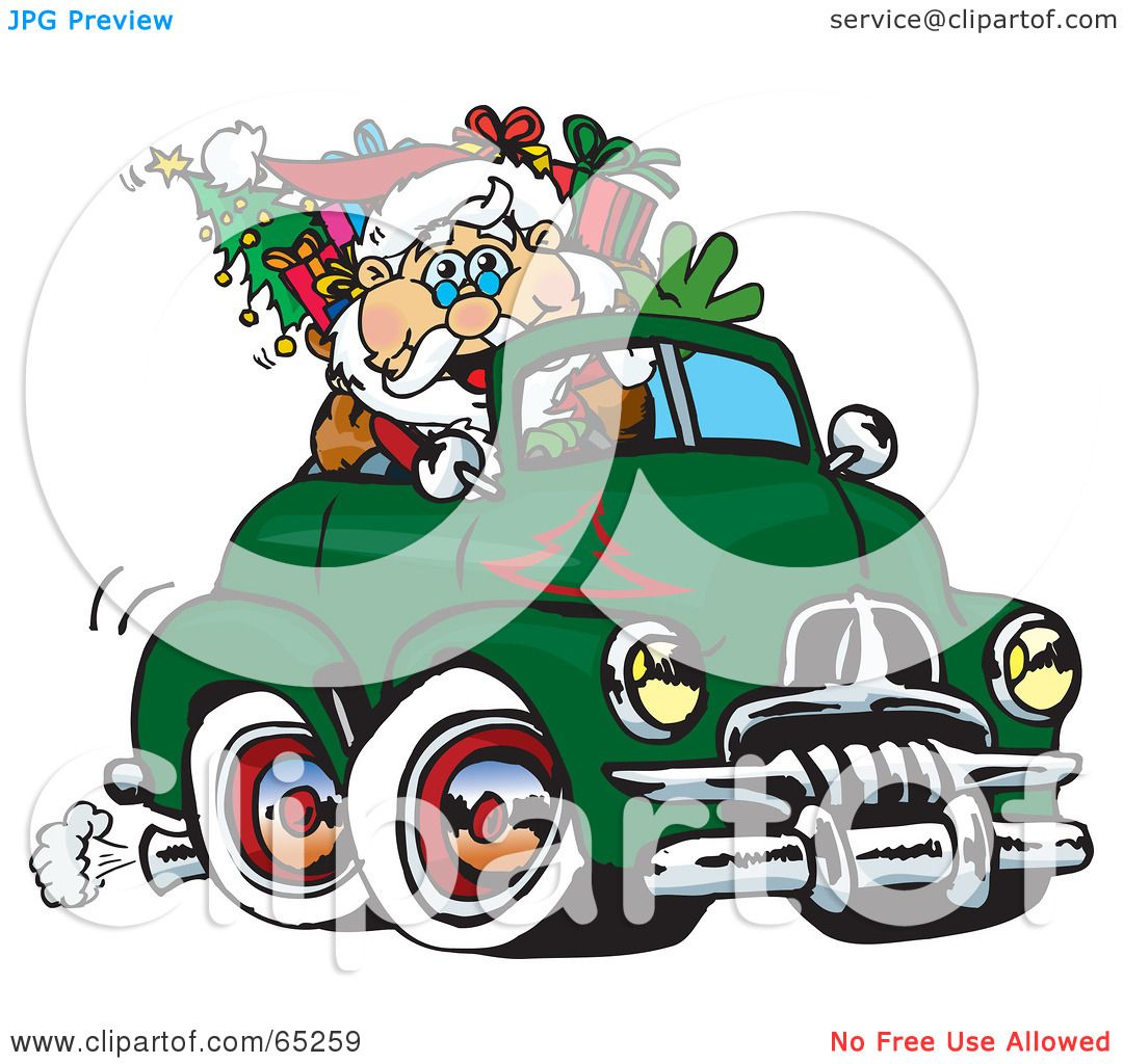 Green truck clipart royalty free rf pickup truck clipart - Royalty Free Rf Clipart Illustration Of Santa Waving And Driving A Green Fj Holden Truck Sleigh By Dennis Holmes Designs