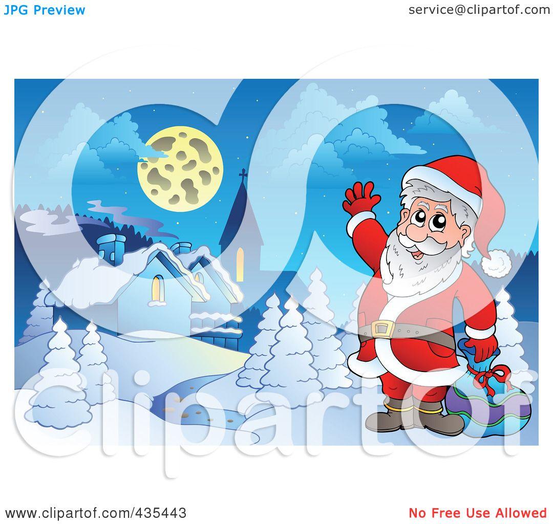 Royalty Free RF Clipart Illustration Of Santa Waving