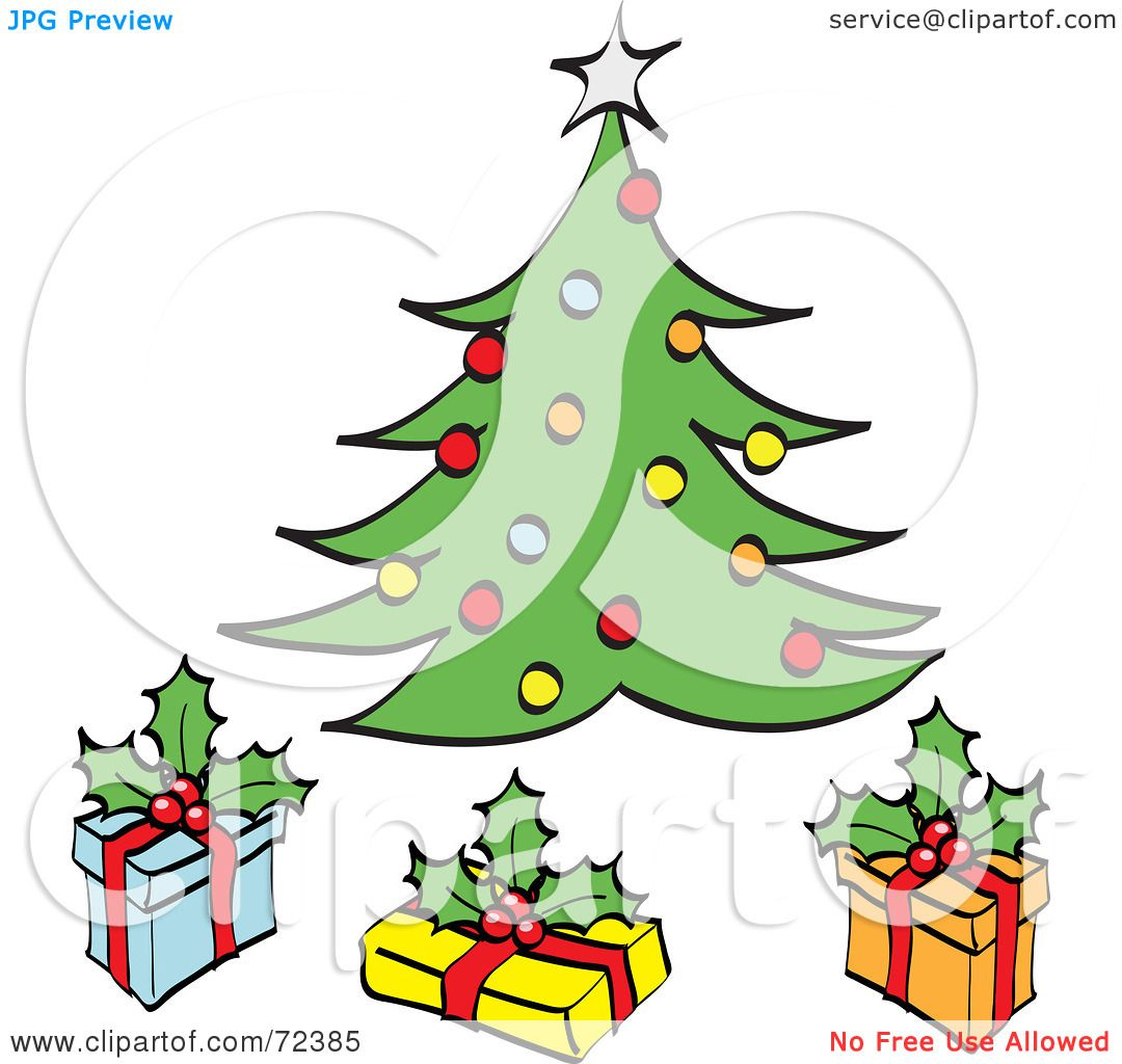 Royalty-Free (RF) Clipart Illustration of Three Gift Boxes Under A ...