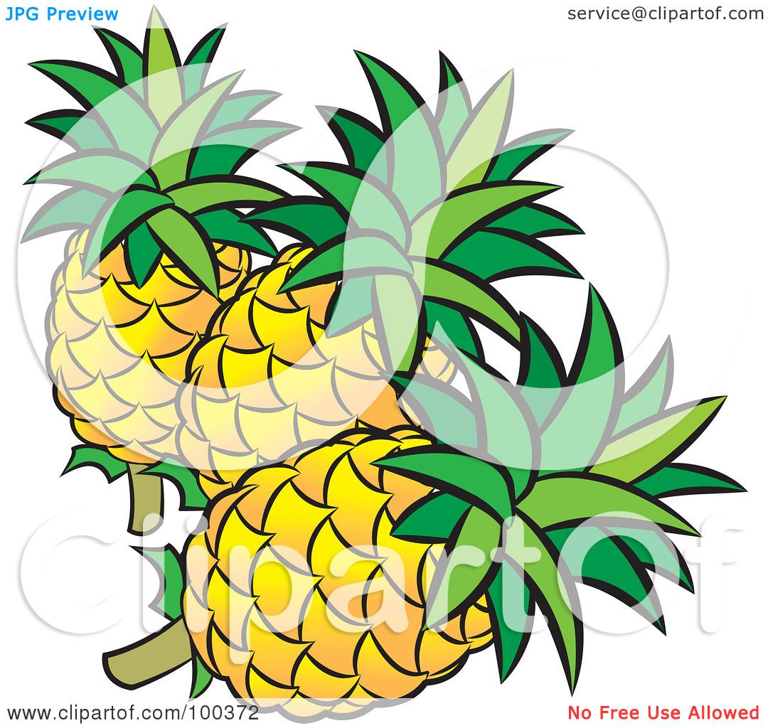 Royalty-Free (RF) Clipart Illustration of Three Pineapples ...