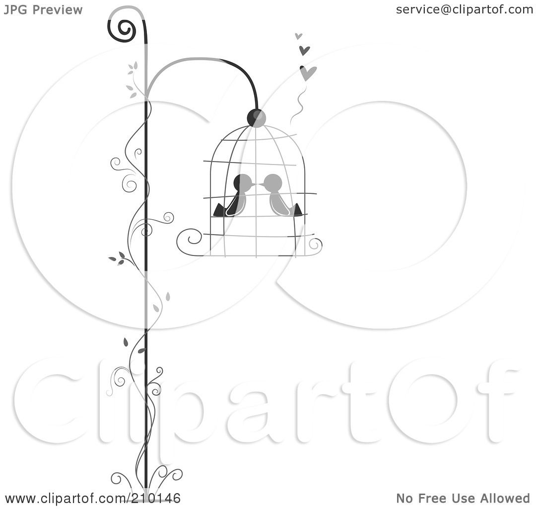 royalty free rf clipart illustration of two birds smooching in a Building Large Bird Cages royalty free rf clipart illustration of two birds smooching in a hanging bird cage with a vine by bnp design studio