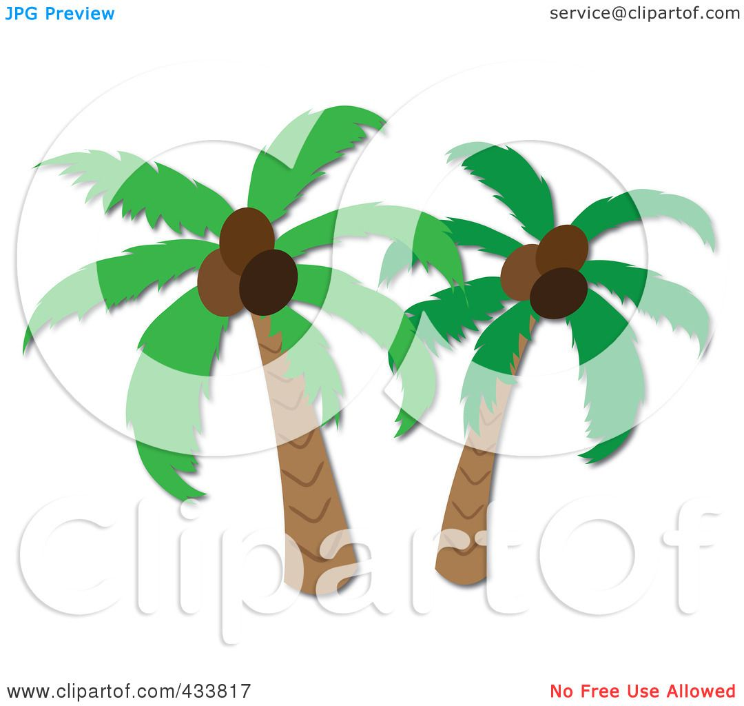 Royalty-Free (RF) Clipart Illustration of Two Coconut Palm Trees by ...