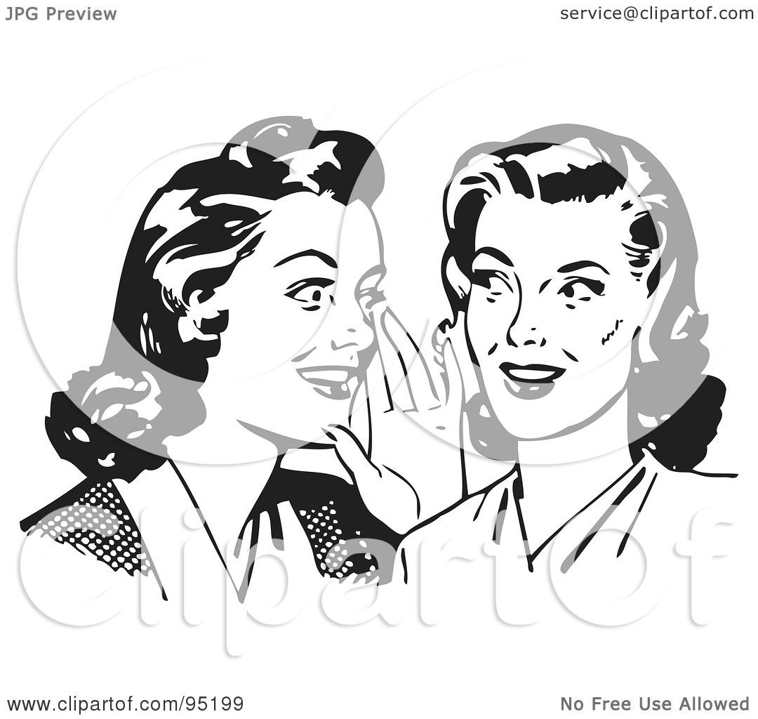 Royalty Free RF Clipart Illustration Of Two Gossiping Retro Women In Black And White By BestVector