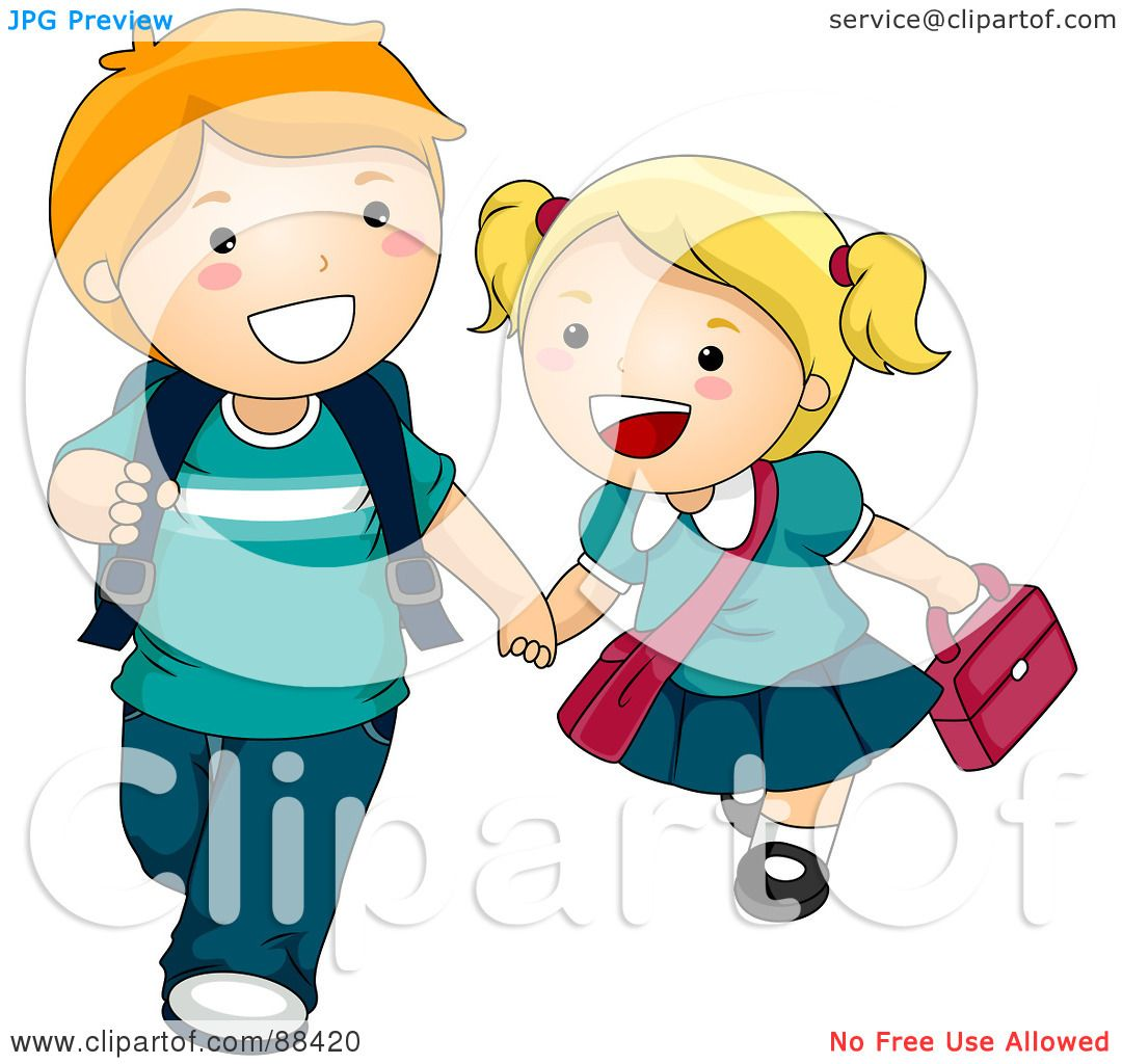 Royalty-Free (RF) Clipart Illustration of Two Kids Holding Hands ...