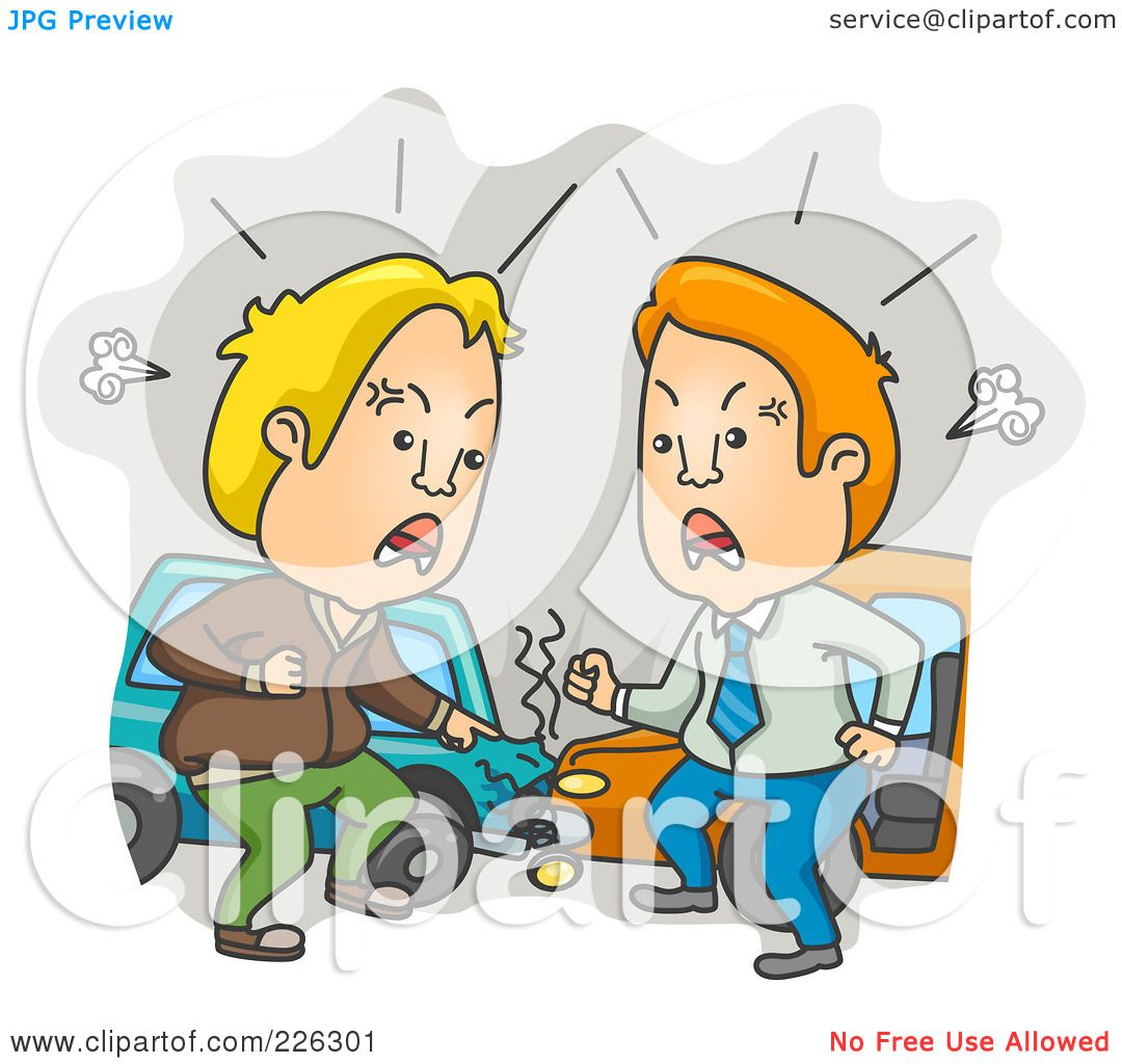 Royalty Free Rf Clipart Illustration Of Two Men Yelling At The Scene Of A Car Accident By Bnp Design Studio 226301