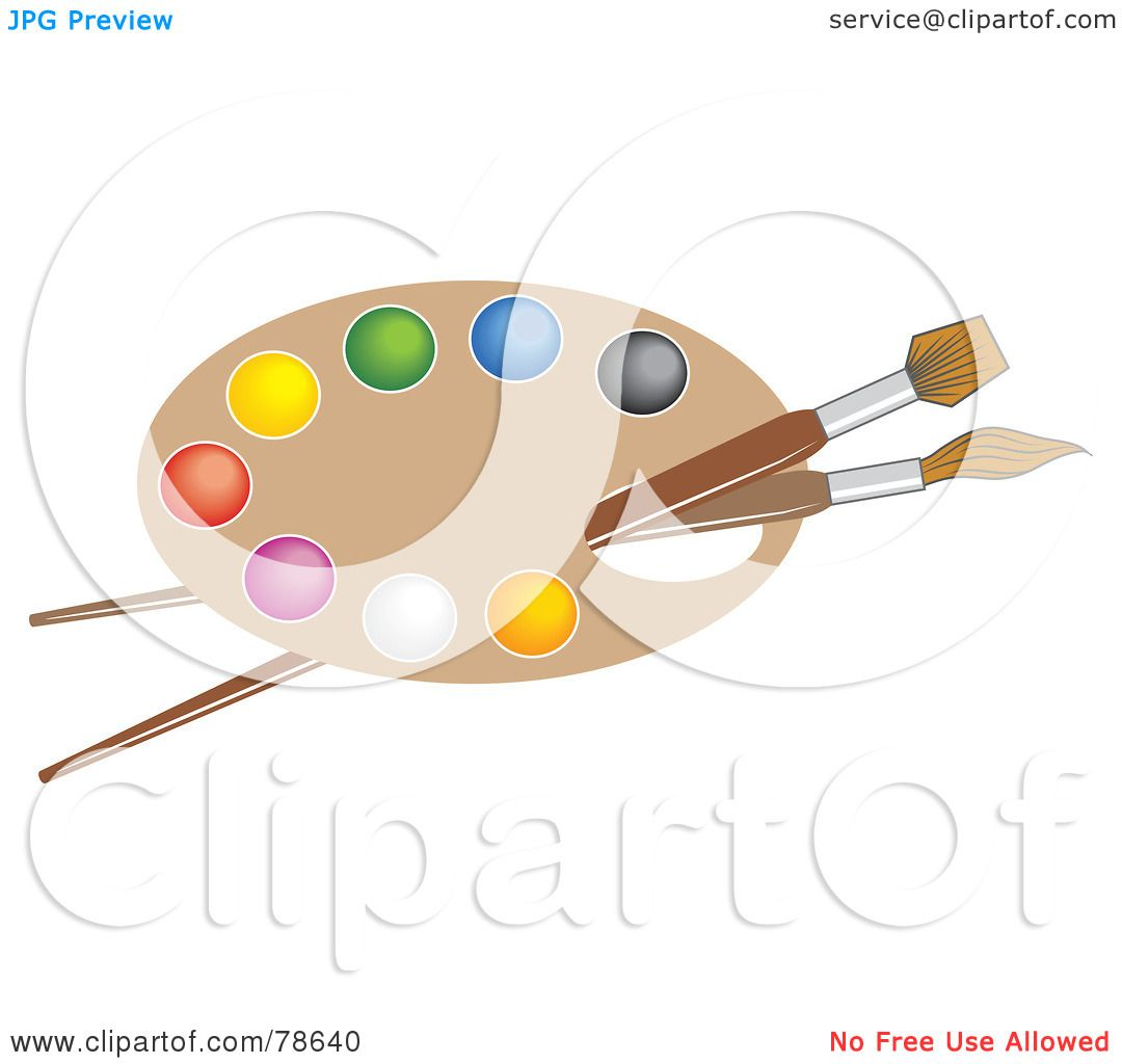 Royalty Free RF Clipart Illustration Of Two Paintbrushes Through The Hole An Artists Paint Palette By Prawny