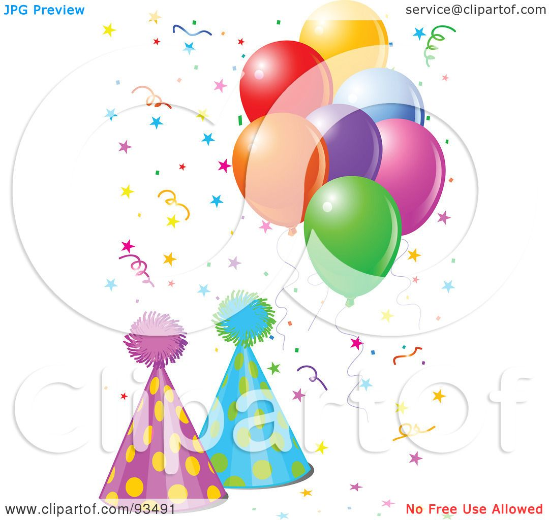 Royalty-Free (RF) Clipart Illustration Of Two Party Hats