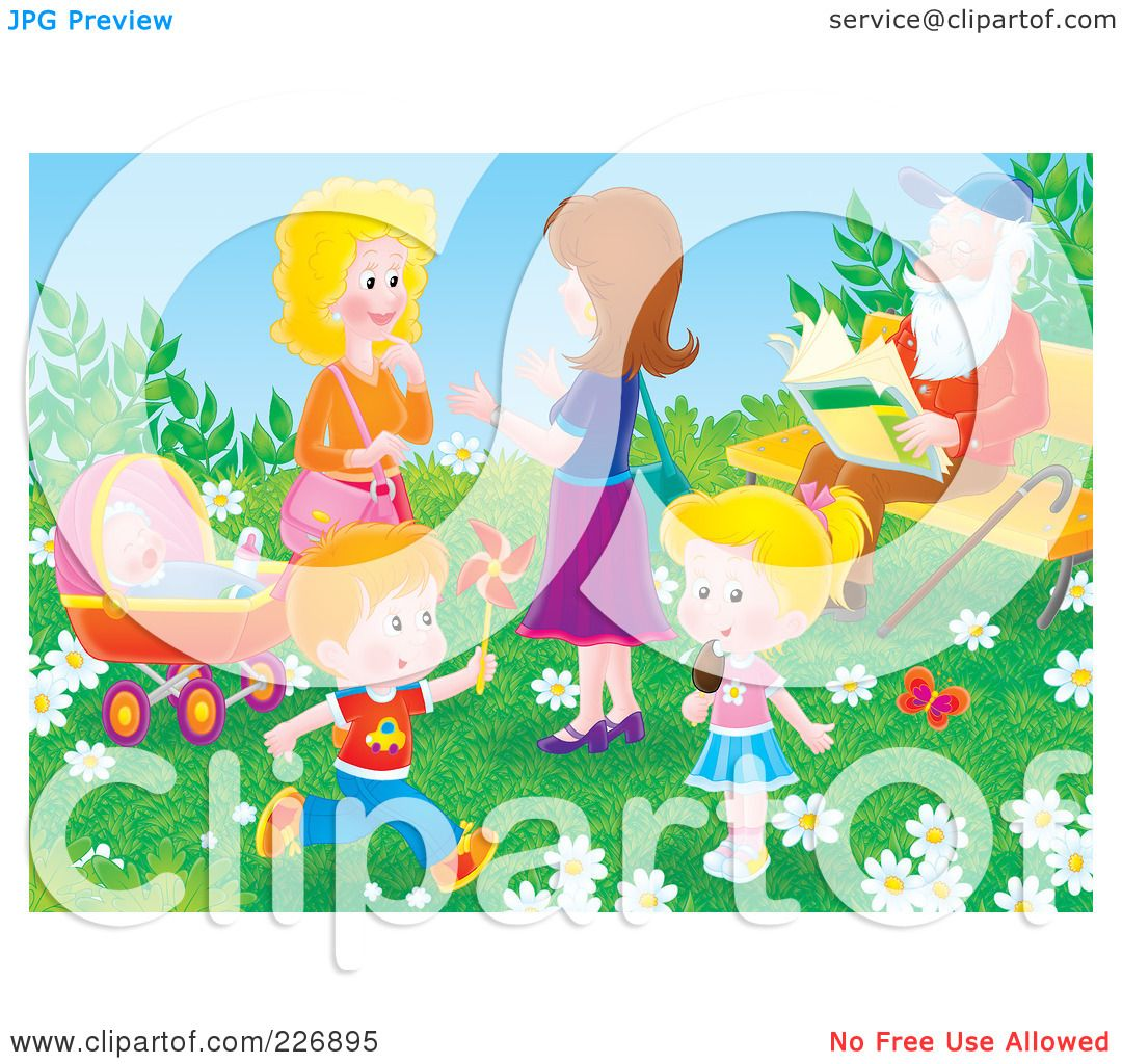 Royalty-Free (RF) Clipart Illustration of Two Women And Children ...