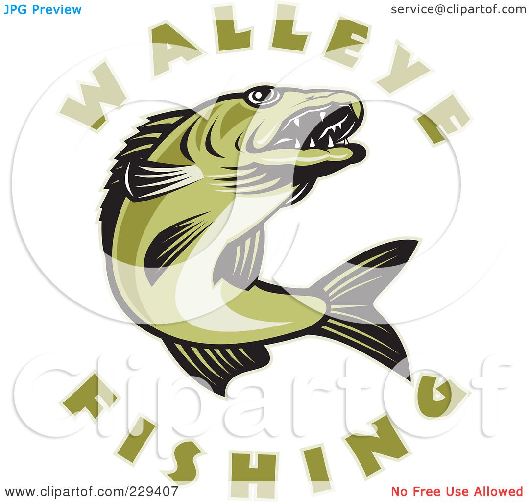 Royalty-Free (RF) Clipart Illustration of Walleye Fishing ...