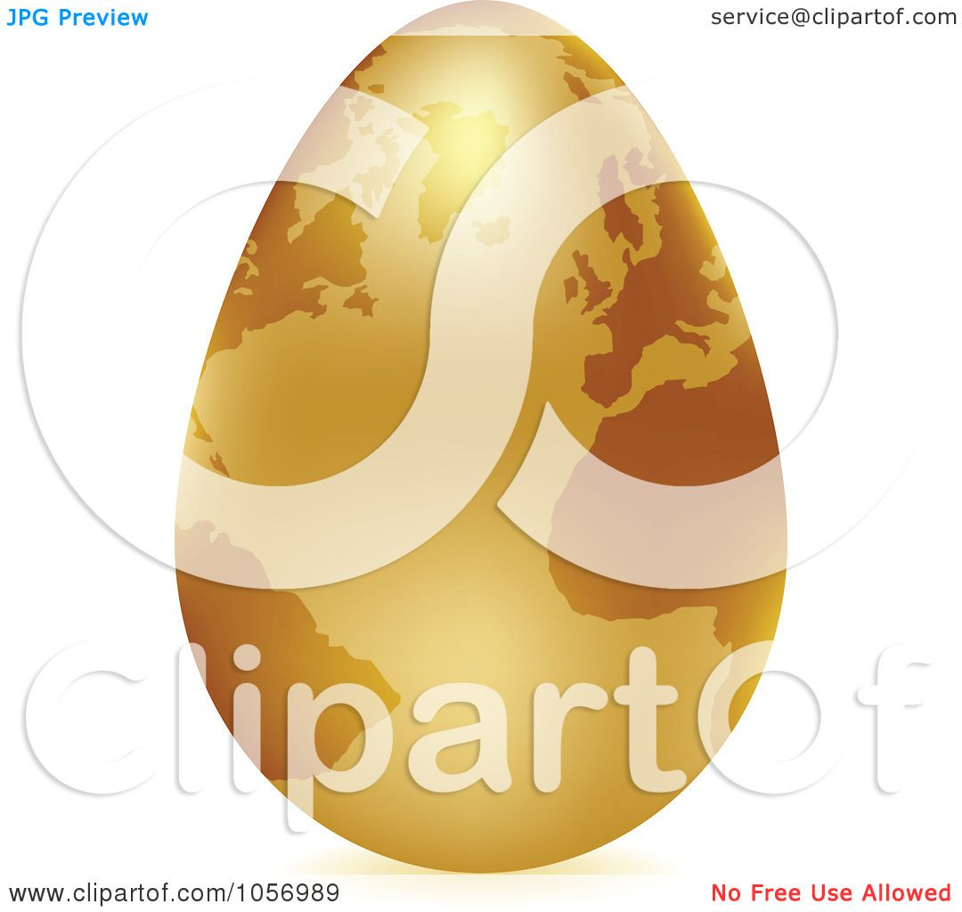 royalty free vector clip art illustration of a 3d gold egg globe