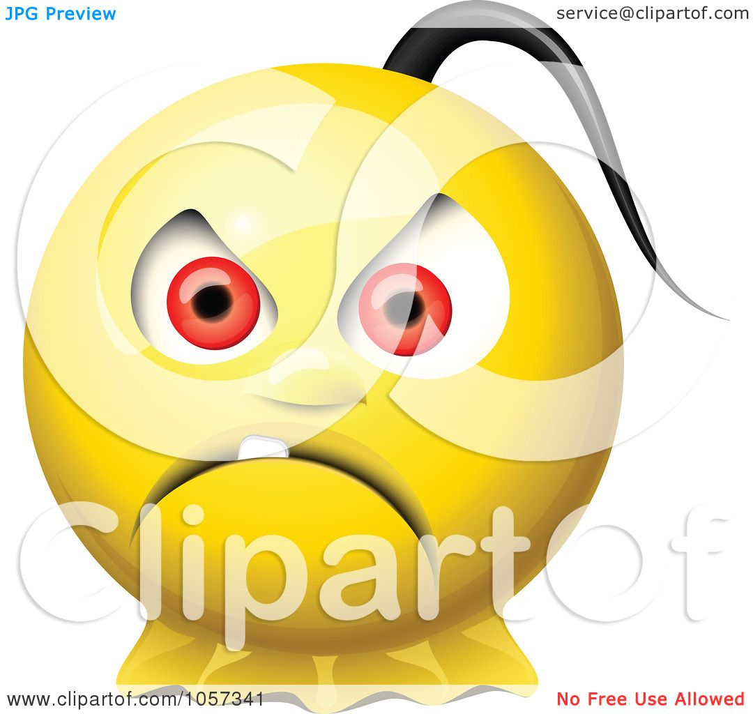 royalty free vector clip art illustration of a 3d mad yellow smiley rh clipartof com