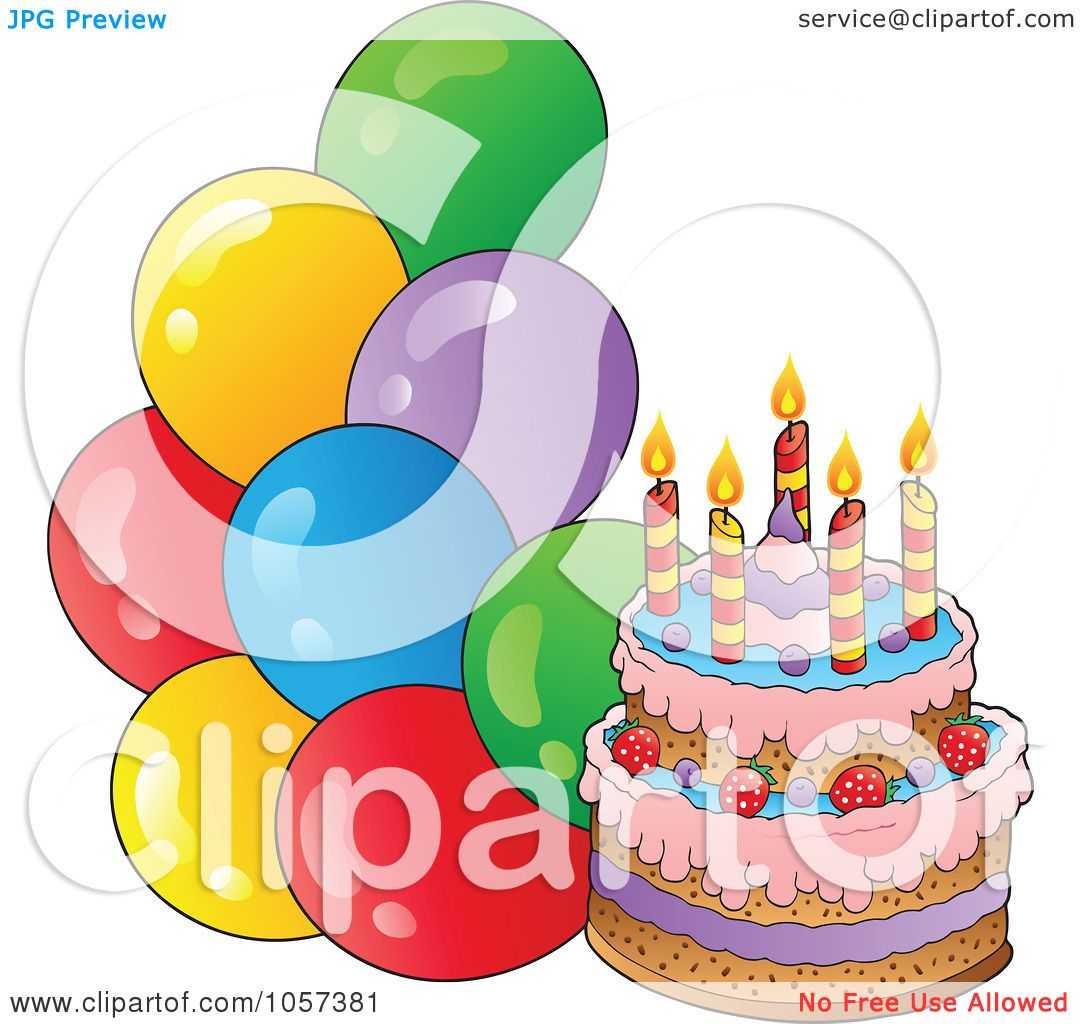 Royalty Free Birthday Images ~ Royalty free vector clip art illustration of a birthday cake with party balloons by visekart