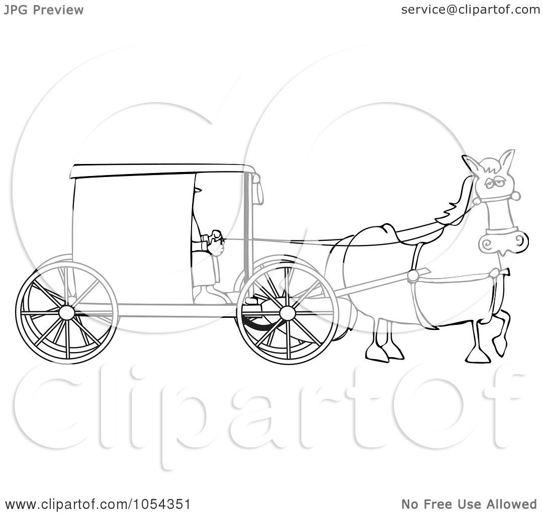 royalty free vector clip art illustration of a black and white amish buggy outline by dennis cox
