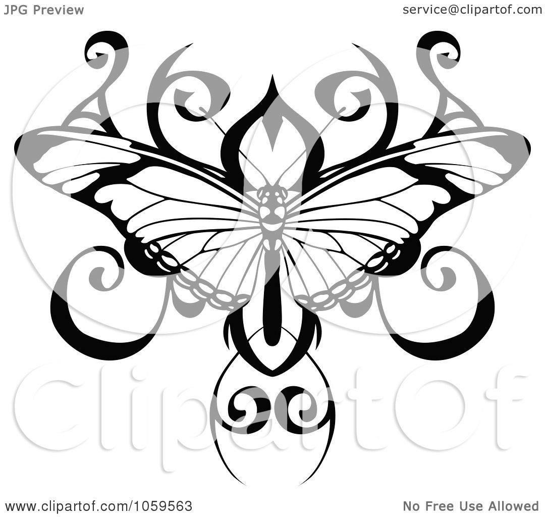 Tattoo Art Black And White: Royalty-Free Vector Clip Art Illustration Of A Black And