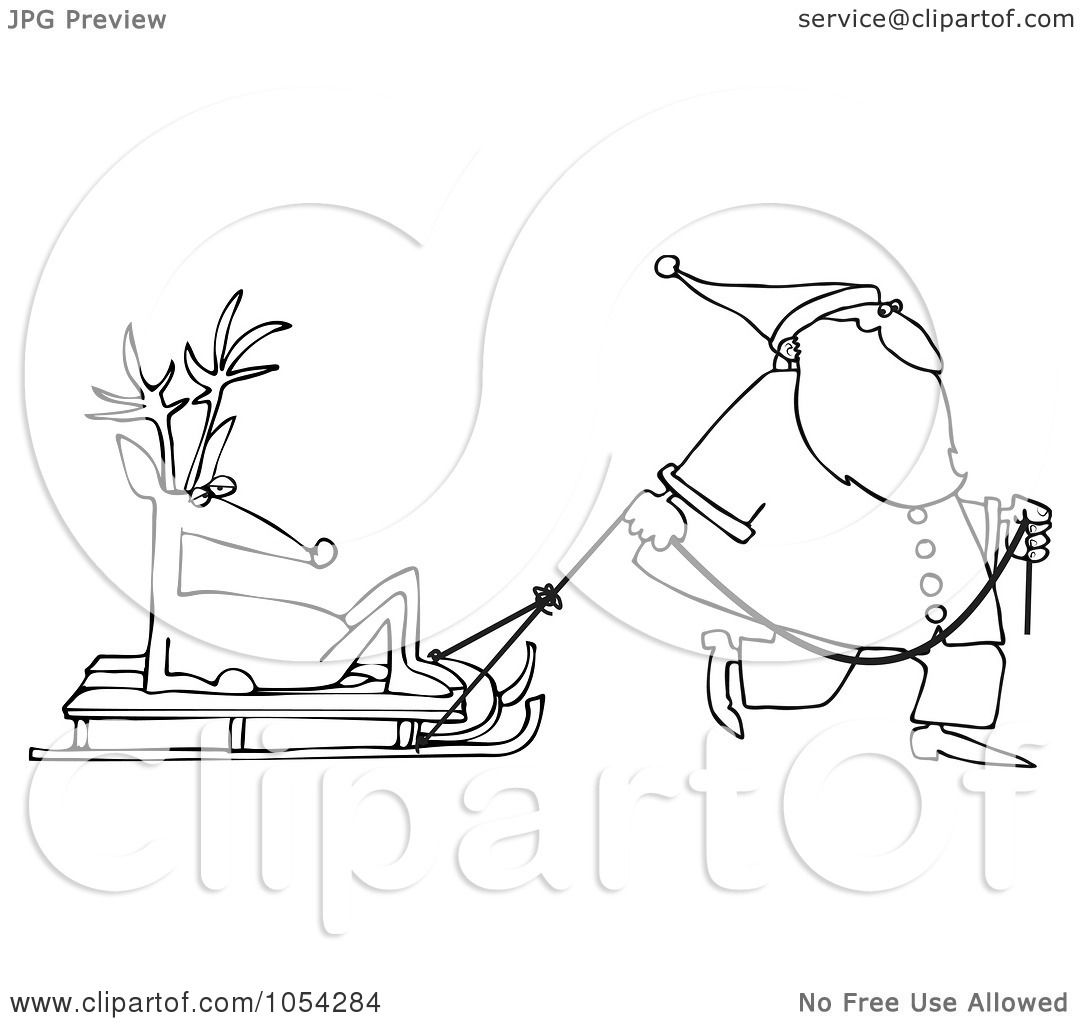 reindeer pulling sleigh coloring pages - photo#22