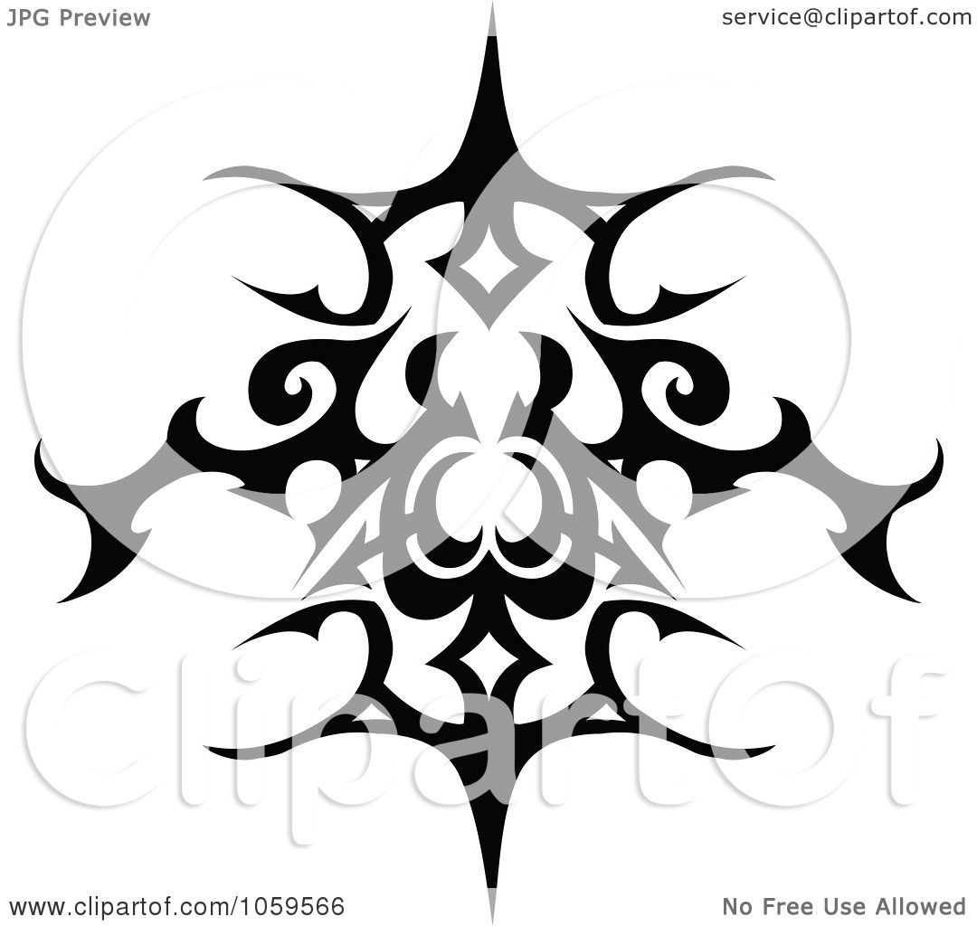 Tattoo Designs Clipart: Royalty-Free Vector Clip Art Illustration Of A Black And