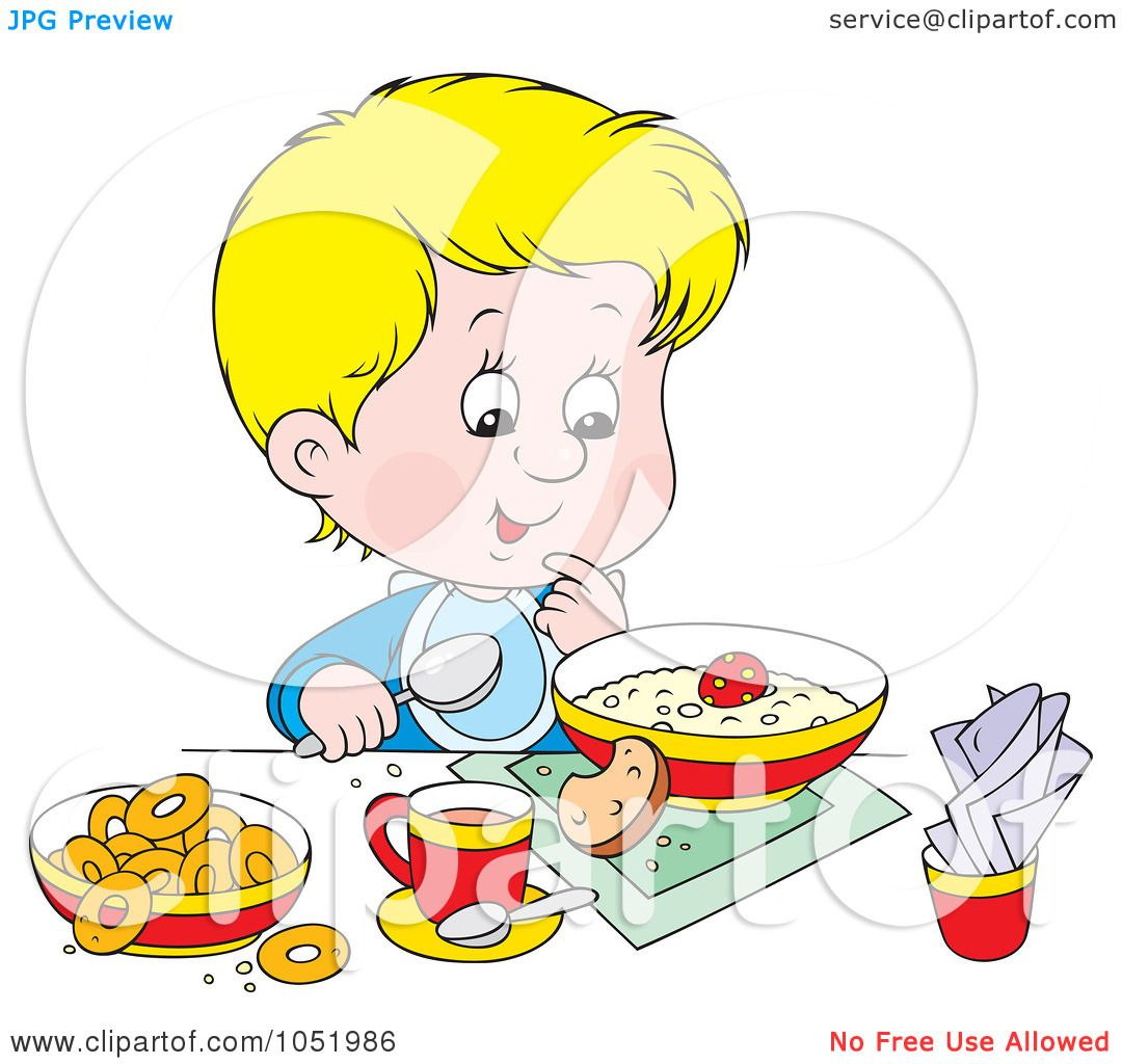 Free Vector Clip Art Illustration of a Boy Eating A Healthy Breakfast ...