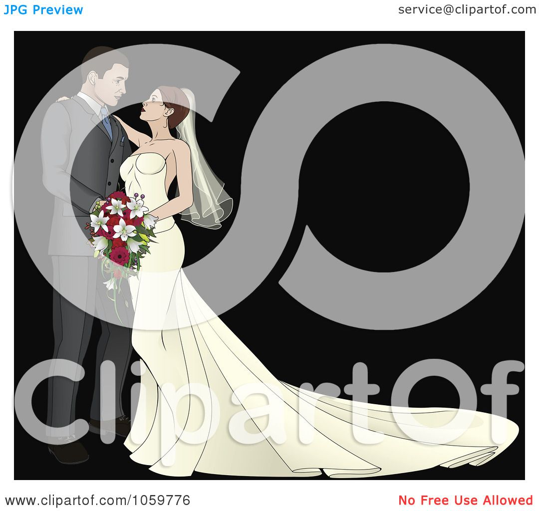 Royalty-Free Vector Clip Art Illustration Of A Bride And