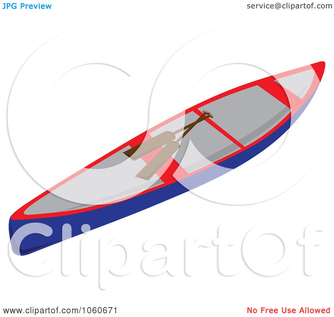 Royalty Free Vector Clip Art Illustration Of A Canoe And Paddles By Pams Clipart