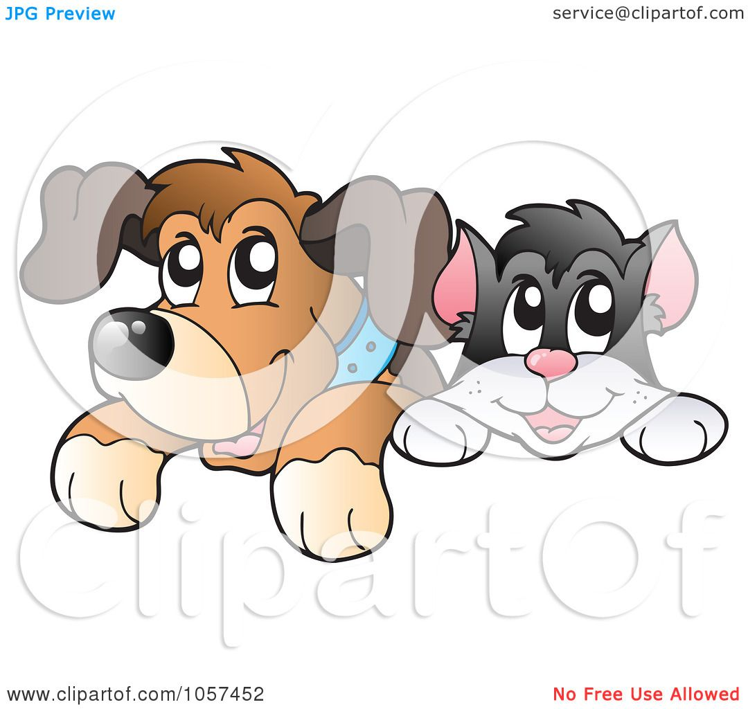 Royalty-Free Vector Clip Art Illustration of a Cat And Dog ...