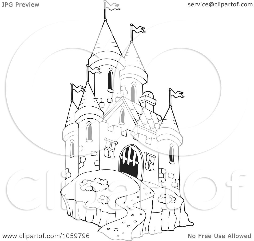 Free coloring pages castle - Royalty Free Vector Clip Art Illustration Of A Coloring Page Outline Of A Castle By Visekart