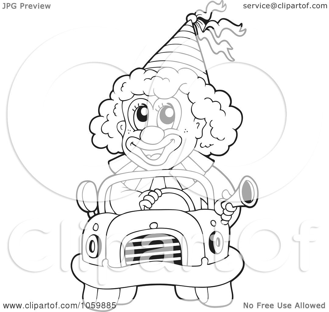 Royalty Free Vector Clip Art Illustration Of A Coloring Page Outline Clown Driving Car By Visekart