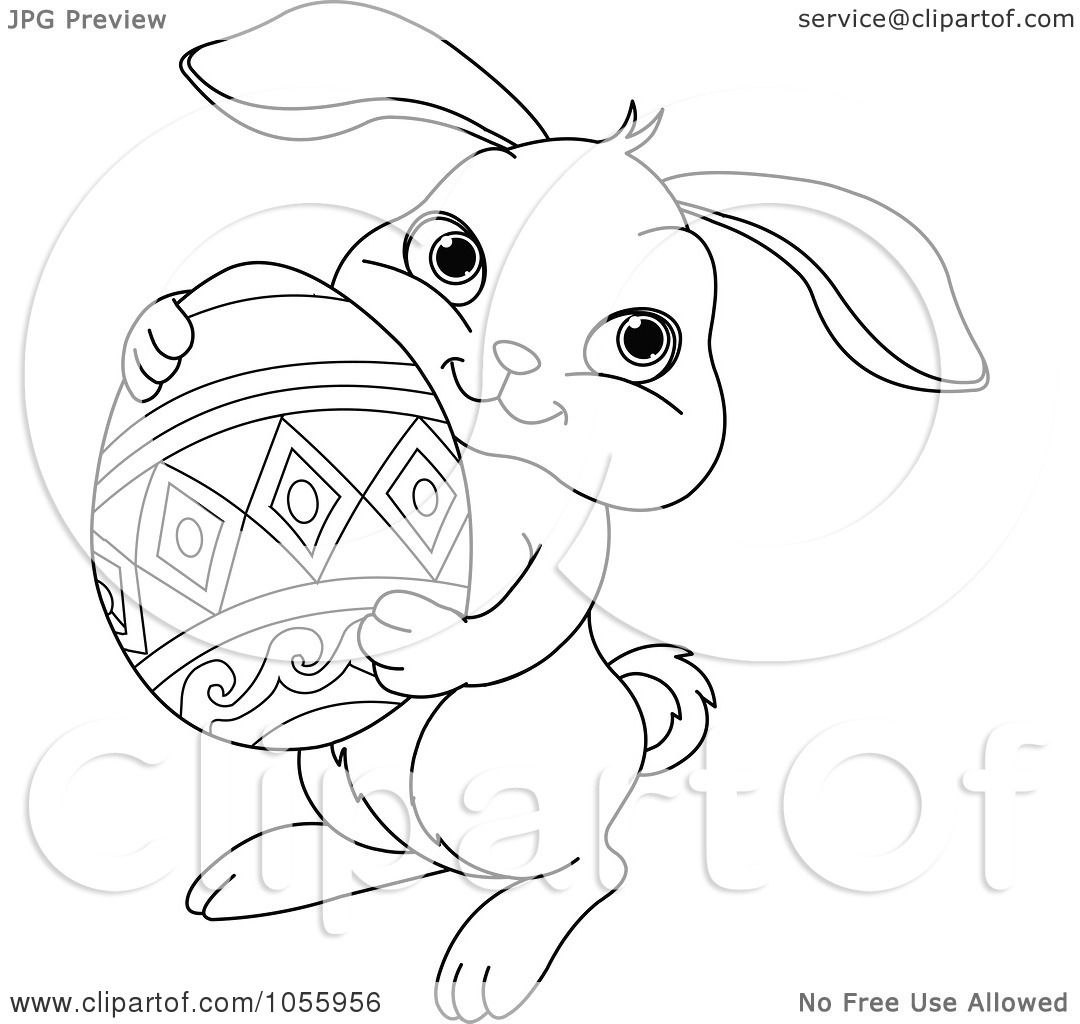 Cute Easter Bunny Holding Egg