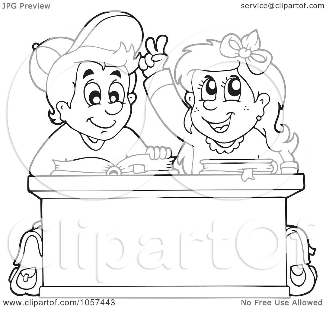 royalty free vector clip art illustration of a coloring page outline of a school boy and girl studying at a desk by visekart